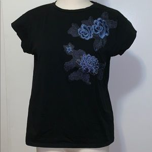 Black Zara t-shirt w/ embroidered flower appliqué